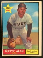 1961 MATTY ALOU San Francisco SF GIANTS Outfield TOPPS #327 Rookie BASEBALL Card