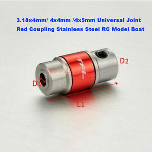 3.18x4mm/4x4mm /4x5mm Universal Joint Red Coupling Stainless Steel RC Model Boat
