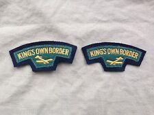 Original 50s/60s British Kings Own Border Reg Glider Battledress Shoulder Titles