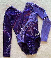 Under Armour Gk Elite Gymnastics Leotard Competition Purple Rhinestones Ua Sz Cl