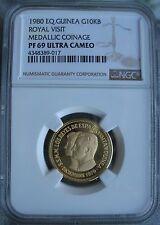 Equatorial Guinea 1980 Gold 10000 Bipkwele NGC PF-69 Ult. Cameo Royal Visit