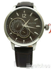 New Nautica Multi-Function Brown Leather Date Men Dress Watch 45mm N15048G $150