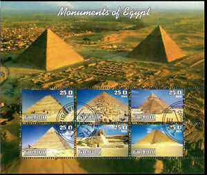 Pyramids Monuments of Egypt Souvenir Sheet of Six Gambia Africa Stamps