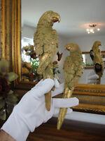 Wandfiguren Set Papagei Gold Deko Figur Skulptur Exotik Kakadu Vogel Edel NEU