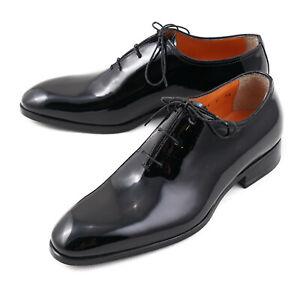 NIB $910 SANTONI Fatte a Mano Black Patent Leather Lace-Up Formal Shoes 6.5