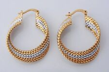 New 14K Solid Yellow & White Gold Filled Two-Tone Ribbed Twisted Hoop Earrings