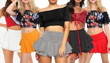 Layered Frill Mini Skort Womens High Waisted Celeb Skirt Xmas Party Shorts Cheap