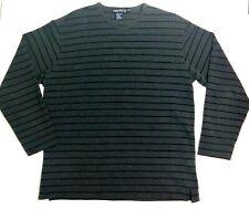 Nautica Sweater Medium V-Neck Charcoal Grey Black Striped Light & Comfortable