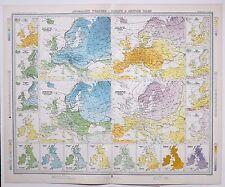 1899 LARGE WEATHER METEOROLOGY MAP ANOMALOUS WEATHER EUROPE & BRITISH ISLES