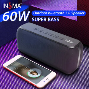 INSMA 60W bluetooth Speaker Super Bass TWS TF Card /AUX Stereo Surround