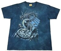 The Mountain Skull Dragon Tie Dye Tee Blue Size XXL Mens T Shirt 2XL