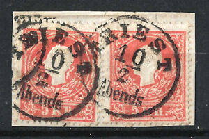 AUSTRIA VENEZIA 1858 EMPORER FRANZ JOSEF 5kr RED PAIR USED ON PIECE, TRIESTE