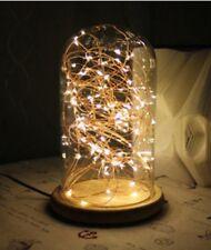 Lampe de table dome en verre et bois et fil de fée LED