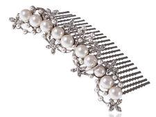 Plata Cristal Estrás Floral Estambre Perlas De Joyería Nupcial Peine de Cabello