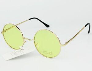 Round Sunglasses Metal Frame Mirror and Transparent Lenses Mens Womens UV400