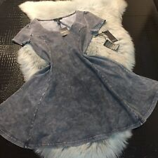 NWT Forever 21 Gray Unique Finish Skater Style Dress Sz M Cotton Blend Nice!