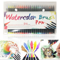24 Colors Pen Set Artist Watercolor Drawing Painting Brush Sketch Manga Marker