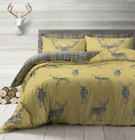 Stag Ochre Grey Check Reversible Duvet Quilt Cover Bedding Single Double King