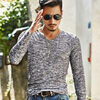 Fashion Men's Slim Fit Long Sleeve Muscle Tee T-shirt Casual Tops Blouse Shirts