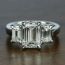 4.02 ct Emerald cut Solitaire Diamond Engagement Ring Solid 14K White gold