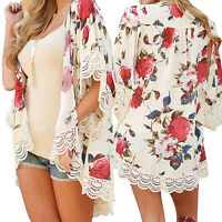 Boho Women Floral Chiffon Shawl Kimono Cardigan Top Cover up Shirts Blouse Coat