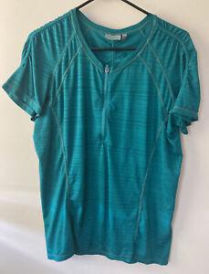 Athleta Pacifica Shirt Top Sz Large 1/4 Zip Short Sleeve Stripe  Green RN#54023