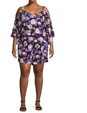 364c92f6160f1 NWT SeXy Bold Elements Floral Romper Shorts Open Shoulder Plus Size 3X 22W  24W