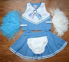CHEERLEADER OUTFIT COSTUME UNIFORM HALLOWEEN BABY BLUE WHITE POM POMS 6PCS 12