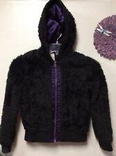 Girls hooded dress jacket faux fur black purple size large CHEROKEE 91