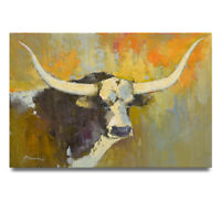 NY Art - Texas Longhorn Colorful Abstract Portrait 24x36 Oil Painting on Canvas