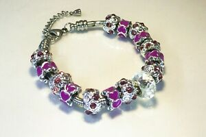 Purple Diamanté and Heart Bead Charm Bracelet