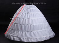 White Petticoat Under Skirt Bridal Ball Gowns Accessories Hoops Slip 6 Hoops