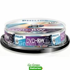 10 x Philips DVD-RW Blank Rewritable Discs 4.7GB 120 Mins 1-4x Speed Spindle
