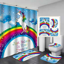 Cute Rainbow Unicorn Shower Curtain Bath Mat Toilet Cover Rug Bathroom Decor