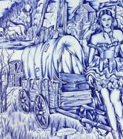 ORIGINAL INMATE ART DRAWING PIONEER WESTERN TRAIL COVERED WAGON COWGIRL CABIN