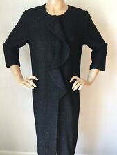 NWT St John Knit Long Jacket topper sz 16 Black Caviar Shimmer Knit Wool Rayon