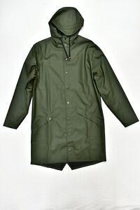 New RAINS Long Jacket Coat Waterproof in Green Size XS/S