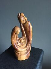Hand Carved Olive Wood Statue Figure Holy Family Virgin Mary & Jesus Nazareth