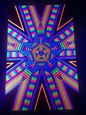 STAR GAZE Eye Optical Illusion Flocked Blacklight Poster 1974 Vintage