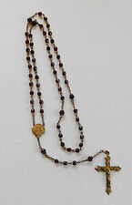 Vintage Rosary Red Faceted Glass Beads Garnet Brass GF #156