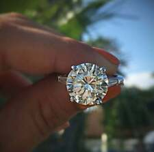 Engagement Ring In 925 Sterling Silver 3.Ct Round Moissanite With Side Baguette
