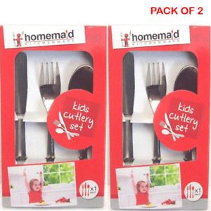 2X 3 Pc Kids Stainless Steel Dinner Cutlery Set Child Spoon Fork Knife Xmas GIft