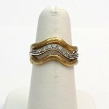 Retro Deco 18k Two Tone Gold 3 Row Pave` Diamond Wavy Band Ring Size 7