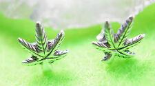 Ohrstecker Silber Stecker Hanfblatt Mariuhana Cannabis Hanf 8 x 9,5 mm Ohr