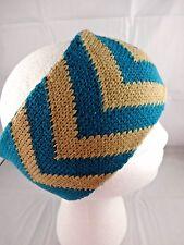 Chevron design headband ear warmer band knit teal beige ski gear