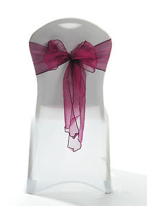 100 Ultra Burgundy Sparkle Organza Chair Cover Sash Bow Wedding Party UK