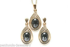 9ct Gold Hematite Pendant and Earring Set Gift Boxed Made in UK