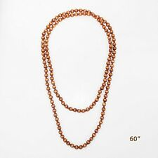 """60"""" Long 10mm Brown Wooden Beaded Wrap Around Necklace"""