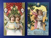CHRISTMAS 2 Angel Antique Postcards 1905 & 1906. Collector Items. Nice w Value