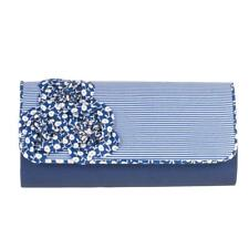 Ruby Shoo  Milan Bag  Blue White Stripe & Flower Corsage Clutch Handbag